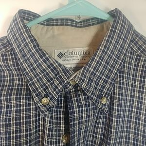 Columbia Large Blue Striped Flannel